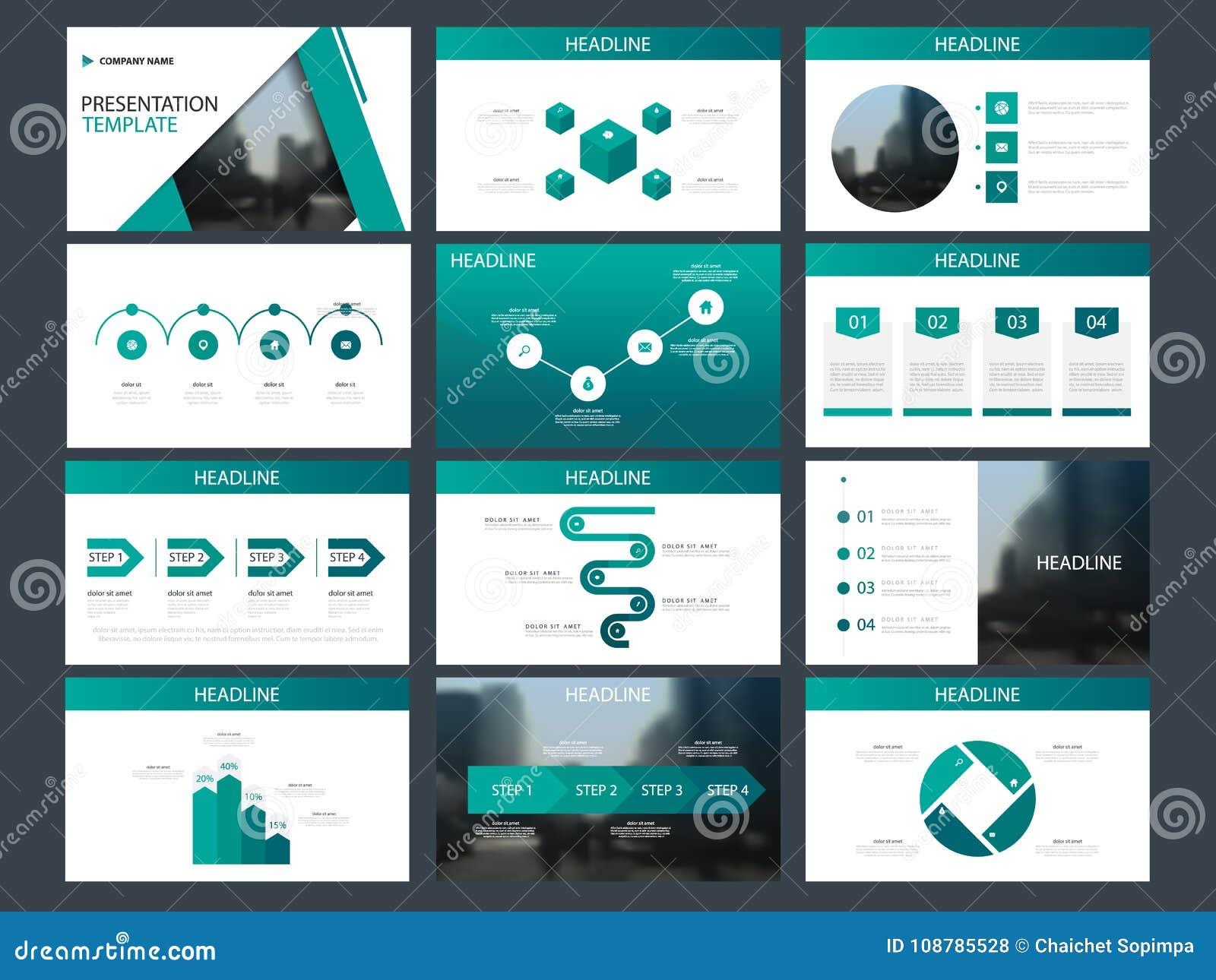 绿色三角捆绑infographic元素介绍模板 企业年终报告,小册子,传单,广告飞行物,
