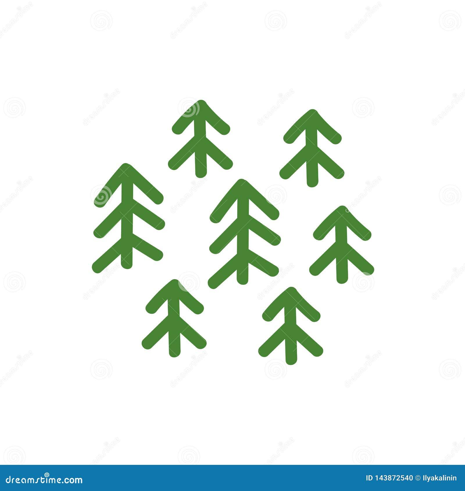 绿色云杉的森林制图指定 种植象或商标 E r