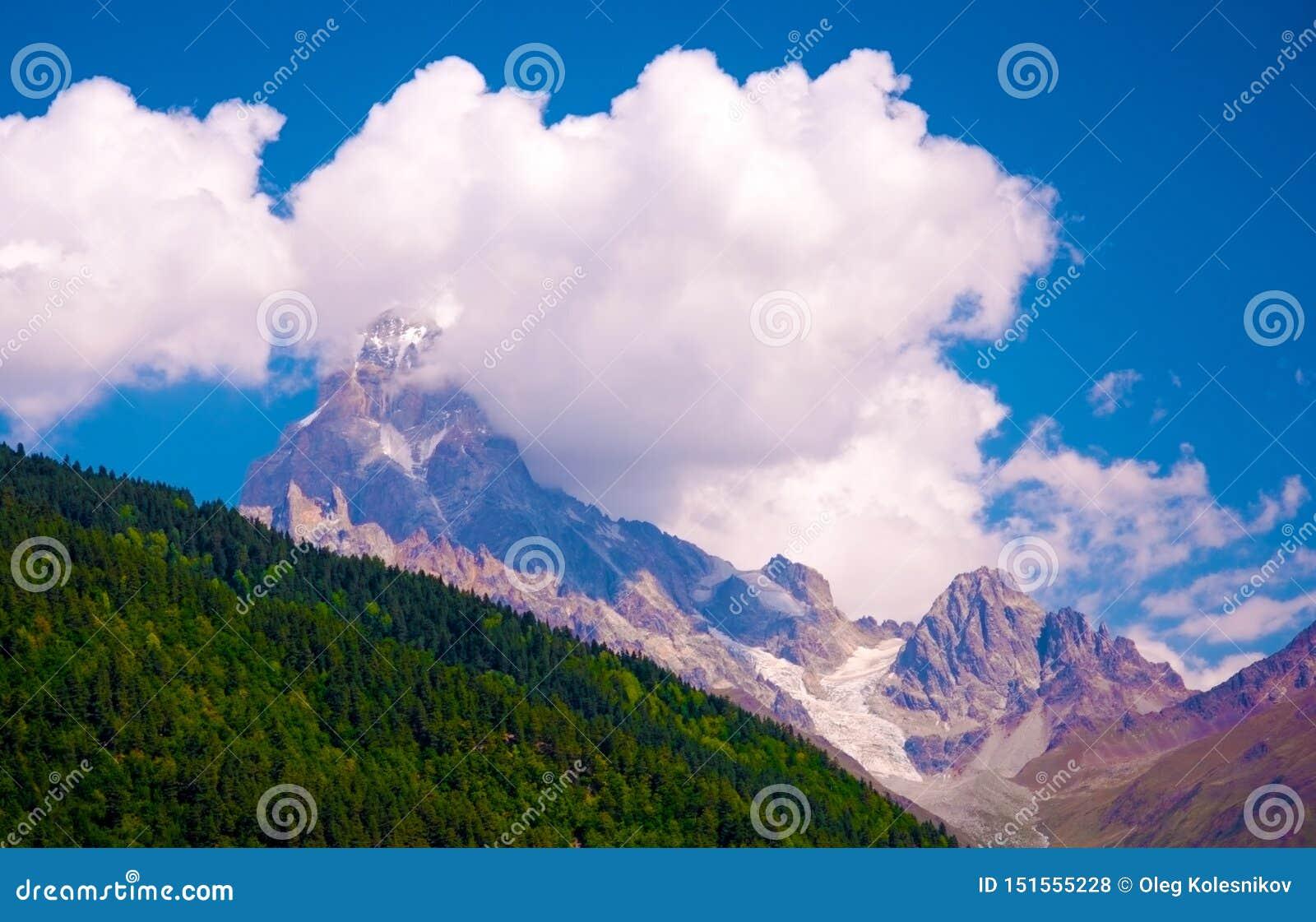 绿色和多雪的山、云彩和冰川在乔治亚 山风景在晴朗的夏日