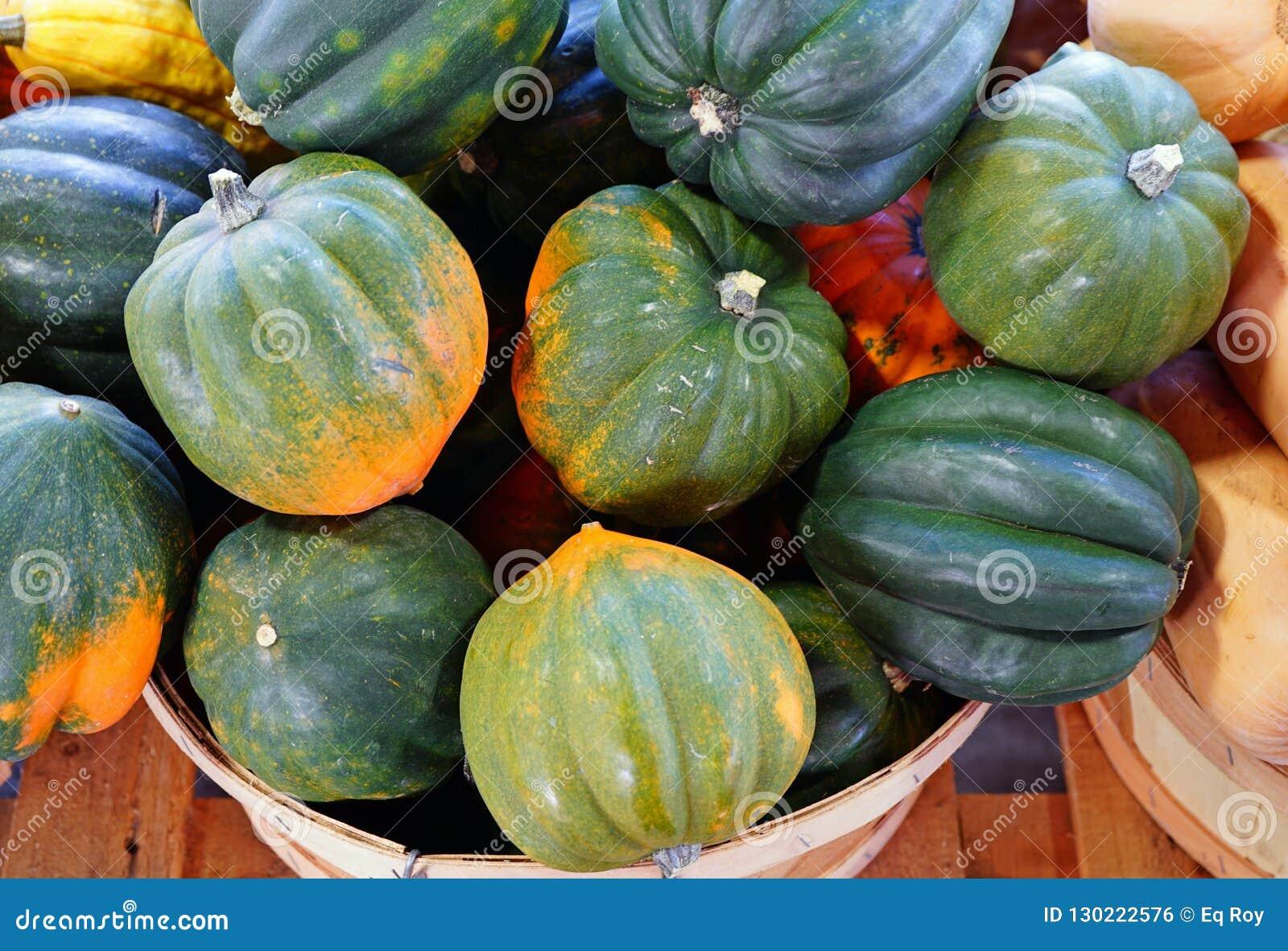 绿色和橙色橡子南瓜篮子在秋天的