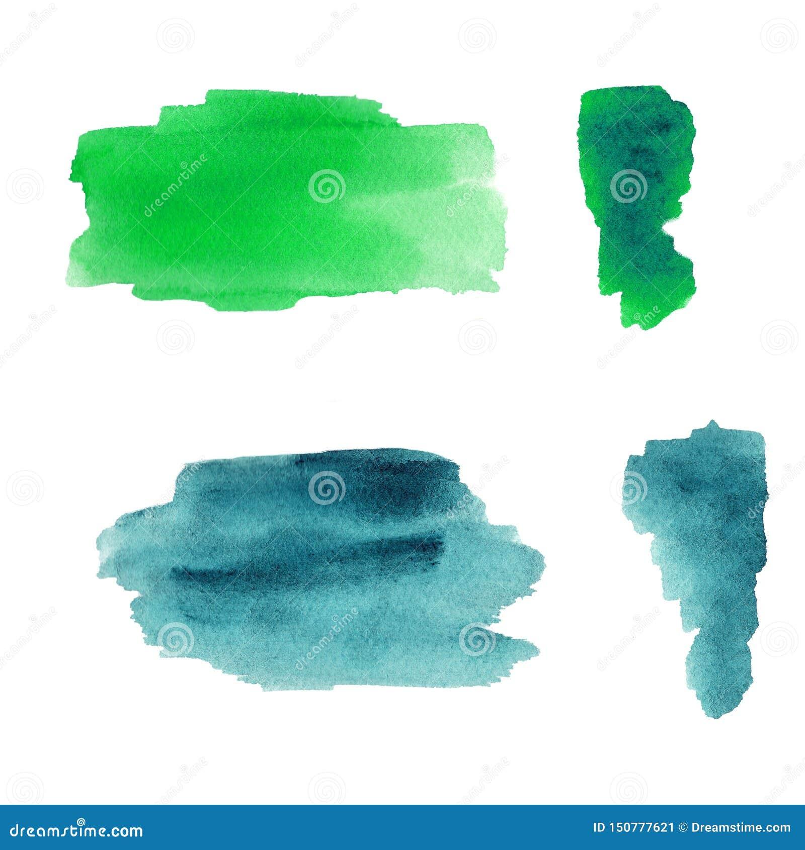 绿色和蓝色水彩飞溅