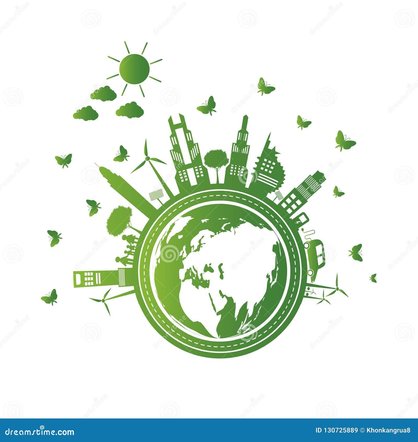 绿色城市帮助与云彩的世界有环境友好的概念想法 也corel凹道例证向量