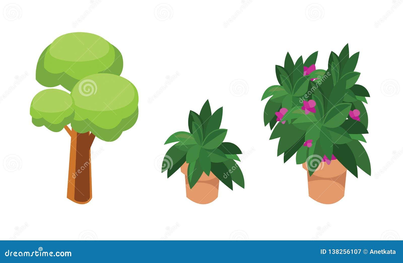 绿色树和花,等量