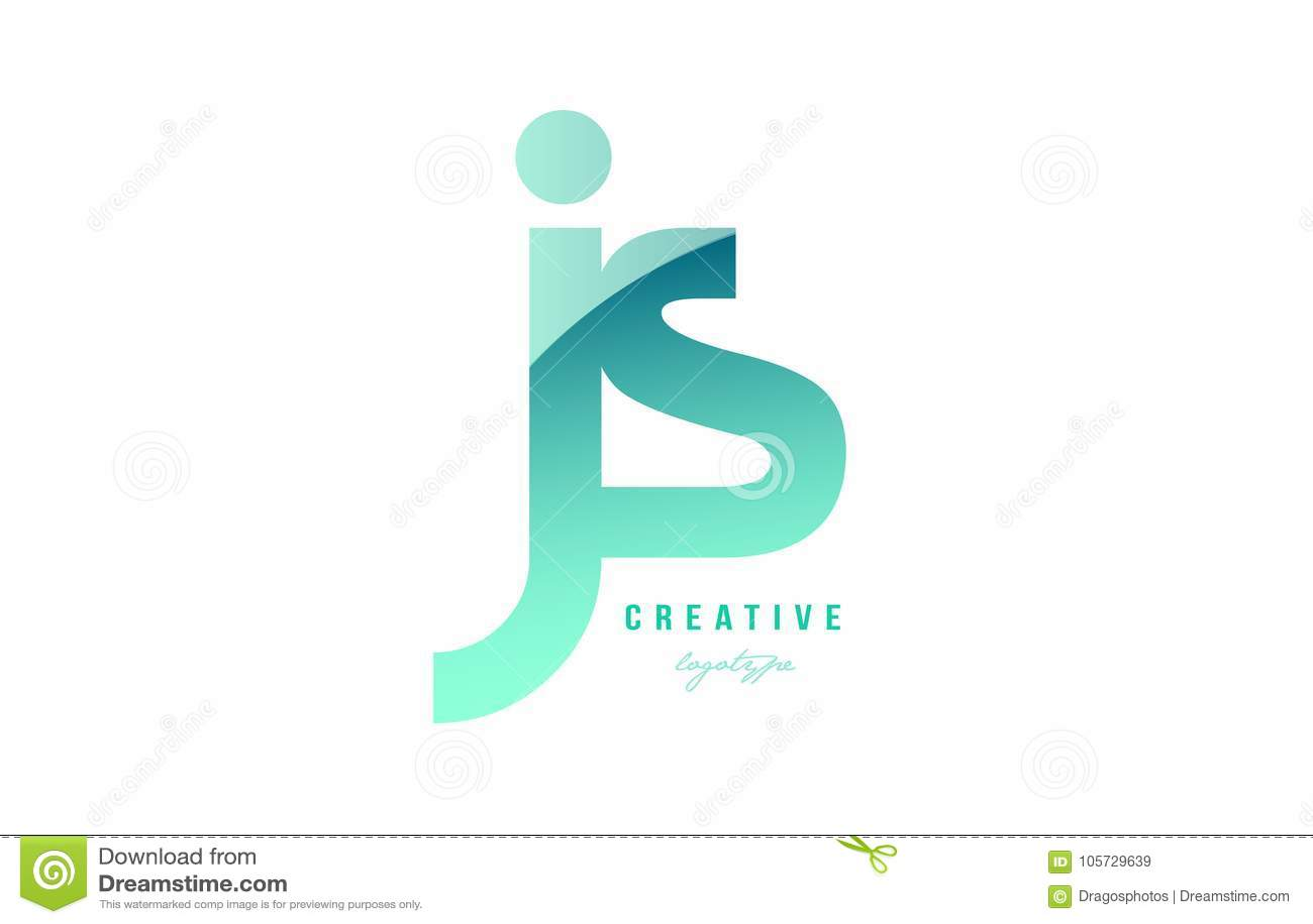绿色梯度淡色现代js j s字母表信件商标combina