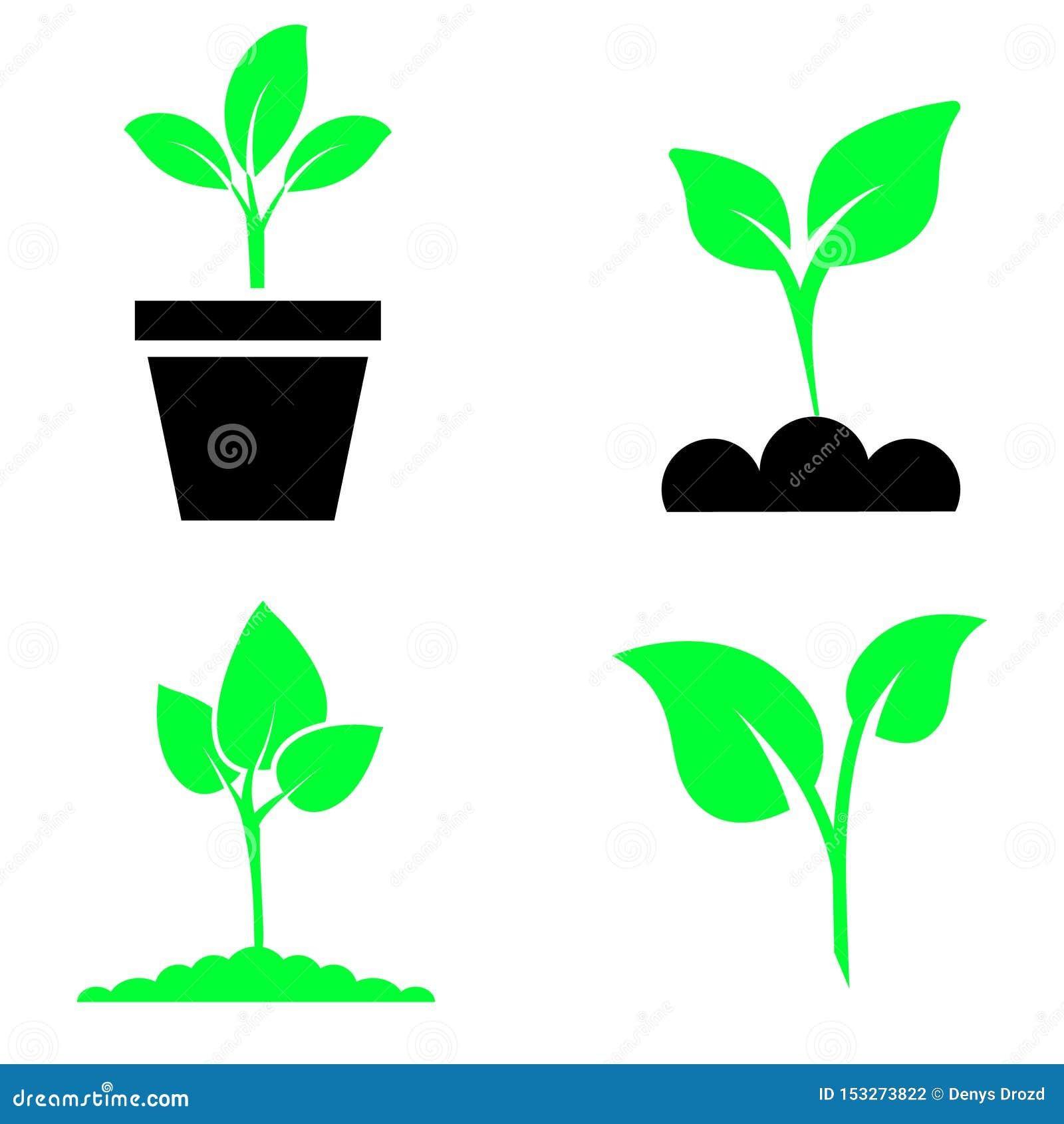 绿色植物和事假颜色象集合传染媒介 绿色植物传染媒介象例证
