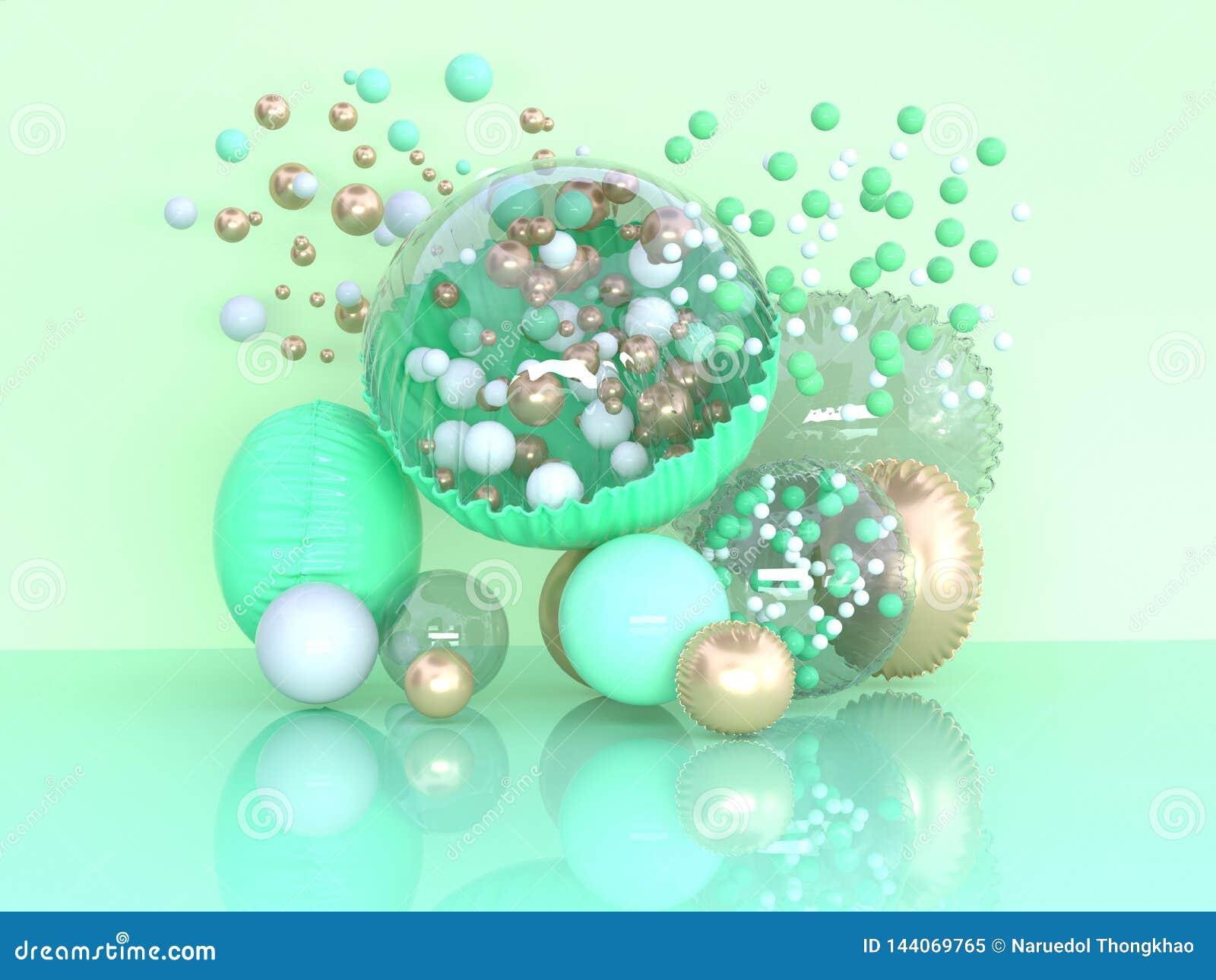 绿色气球装饰摘要3d翻译惊奇概念