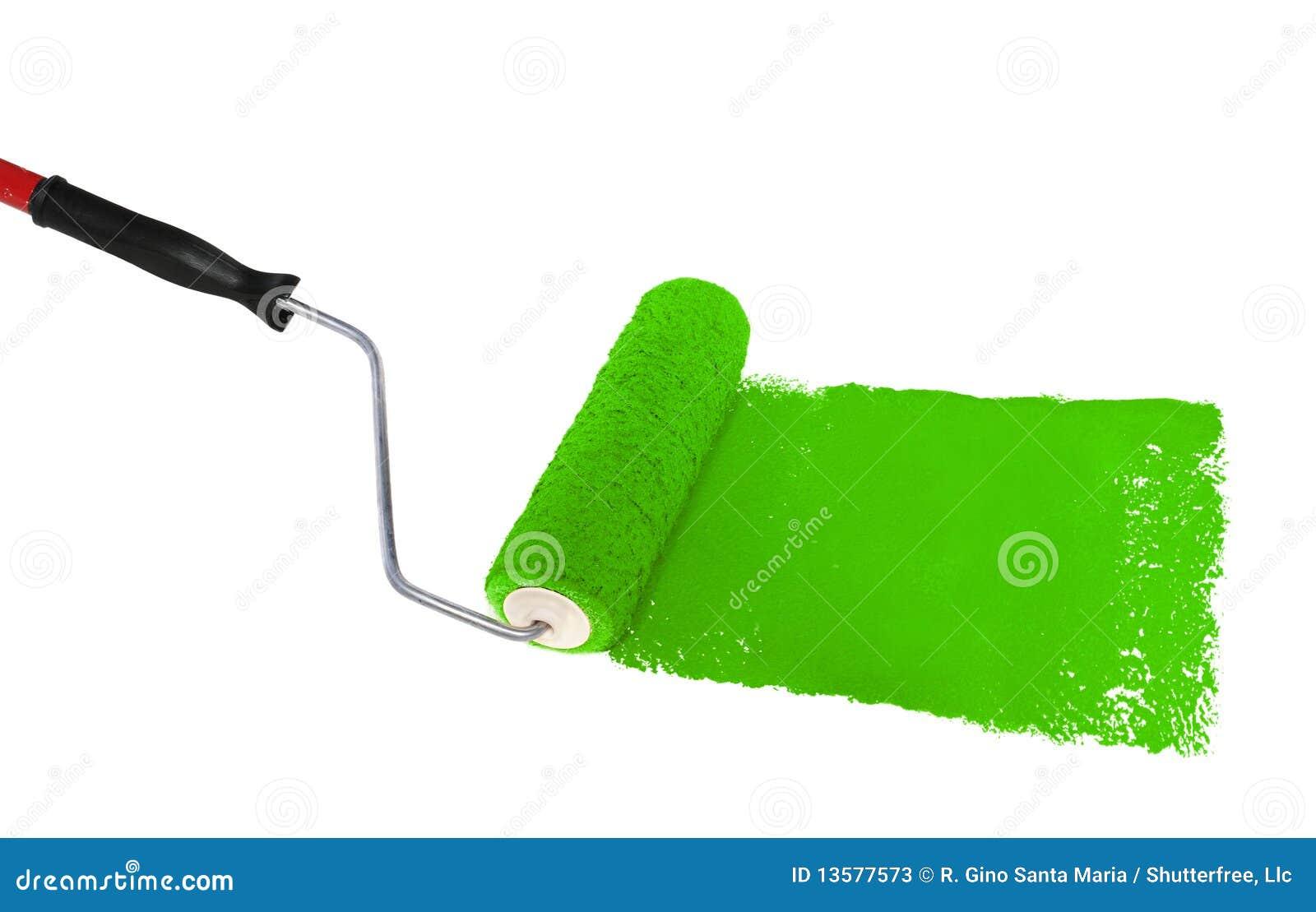 绿色漆滚筒