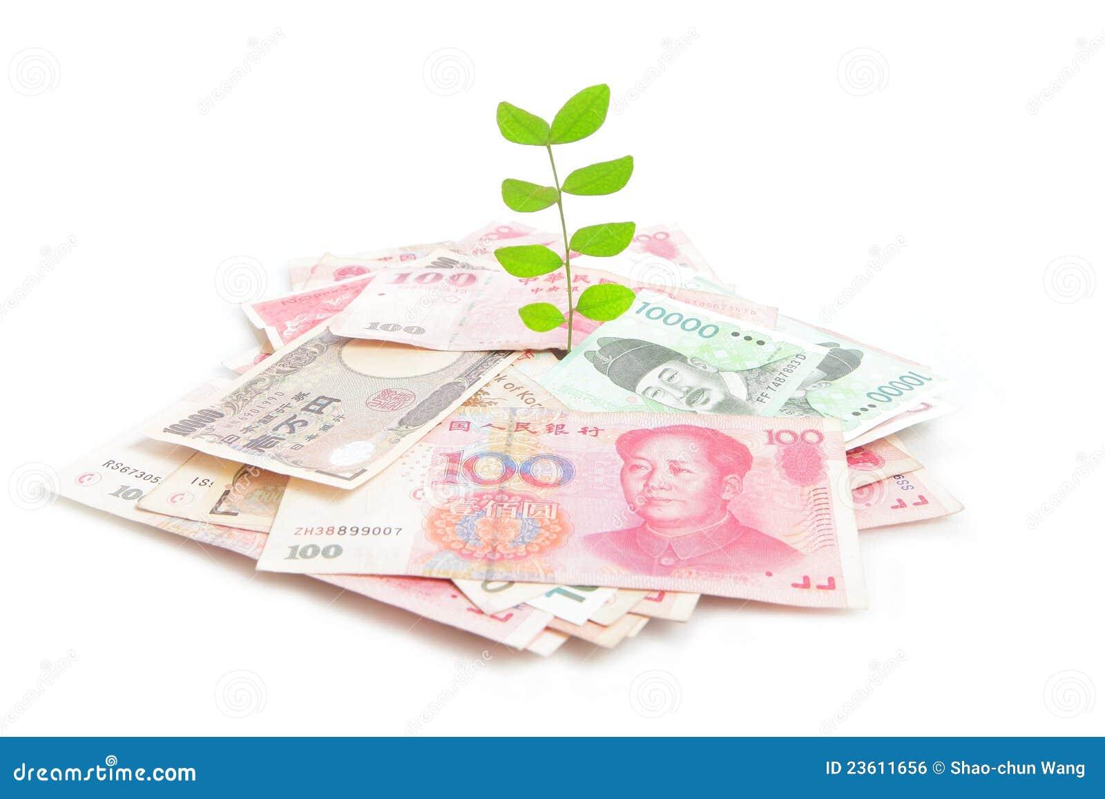 绿色生长叶子货币工厂