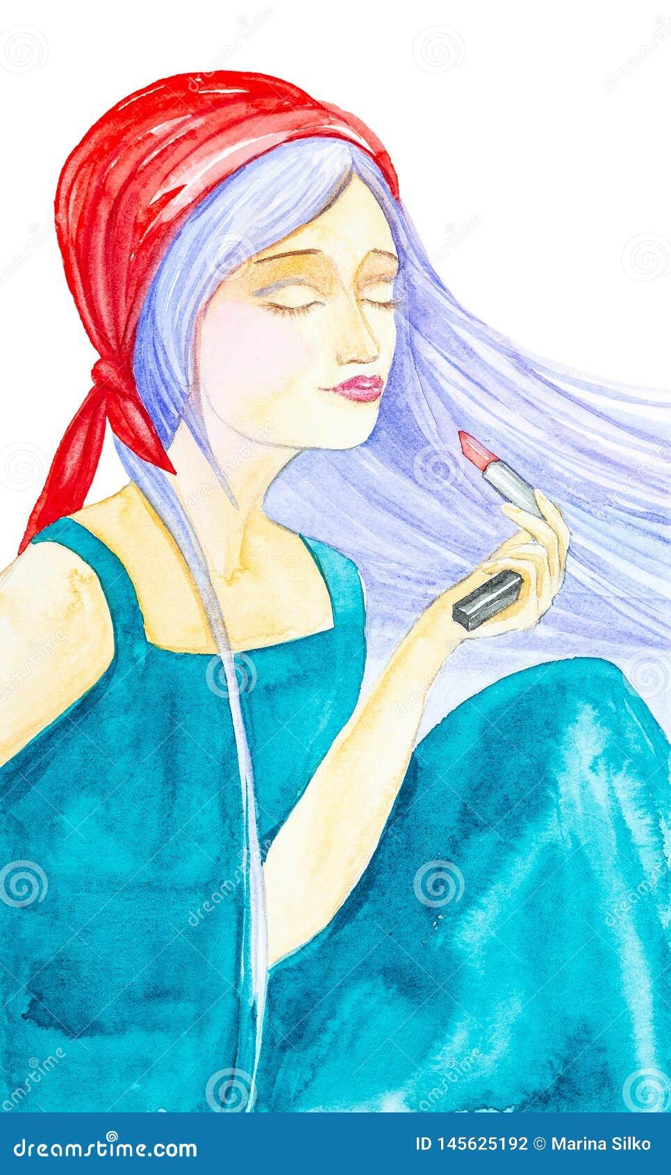 绿色礼服、红色班丹纳花绸和振翼的长的蓝色头发的美丽的少女 他闭上他的眼睛并且拿着在他的一红色口红