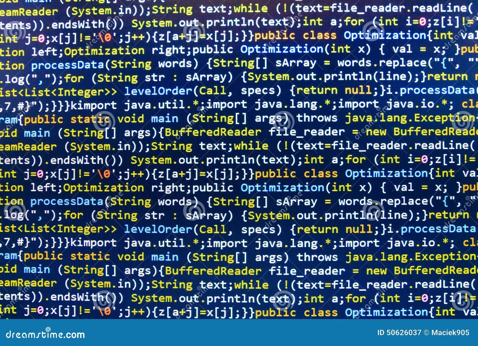 编码编程的原始代码屏幕