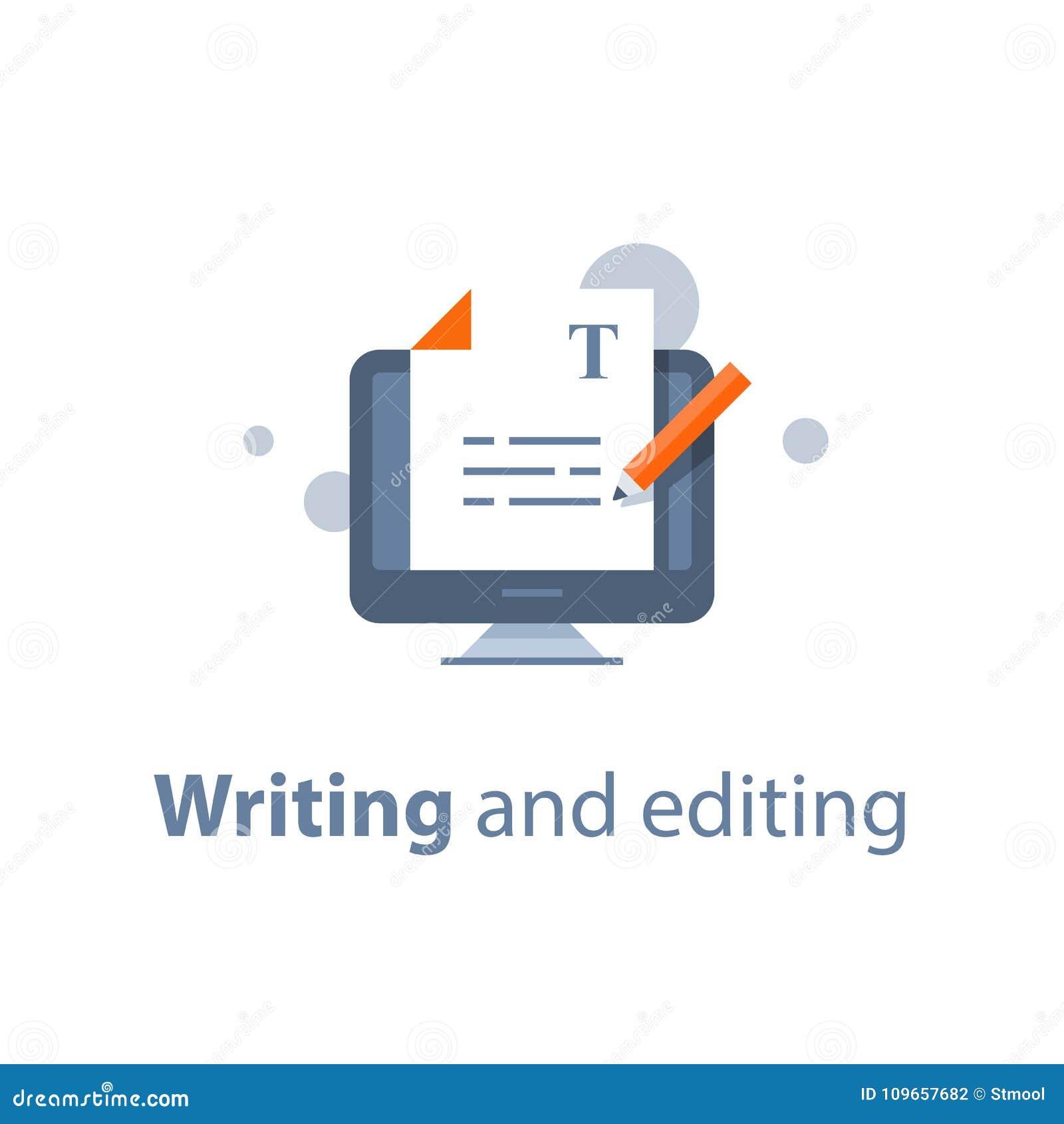 编辑文本文件、网上教育、创造性的文字和讲故事, copywriting的概念