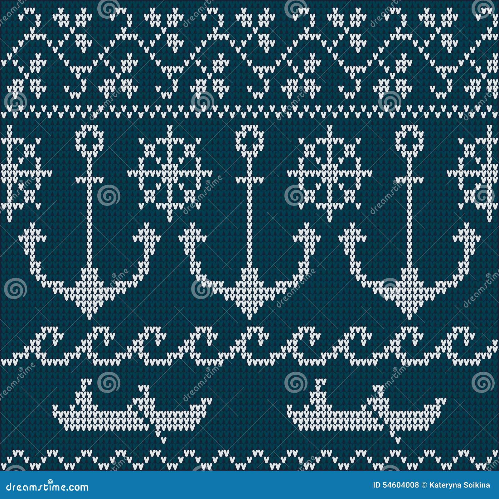 蓝色白色编织了与海锚,方向盘,小船和波浪的毛线衣样式.