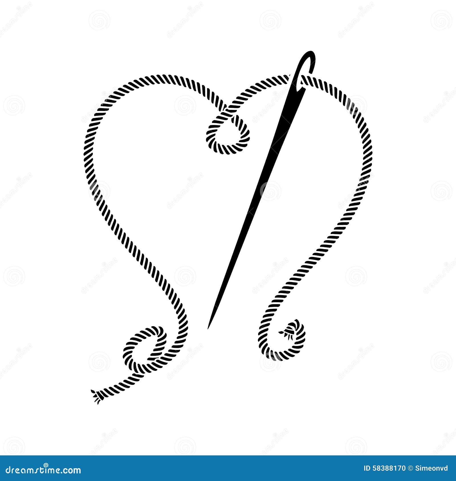 缝合与螺纹的心脏的针图片