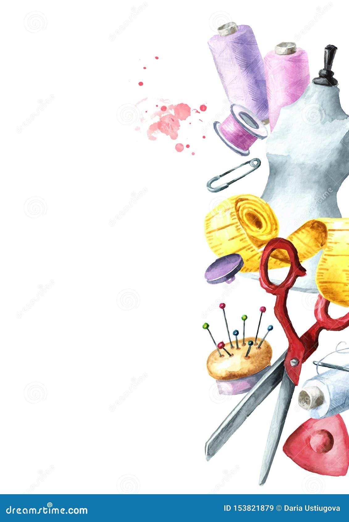 缝合的概念 ?? 裁缝剪刀,测量的磁带,针,顶针,螺纹,钝汉,按钮,白垩,别针短管轴