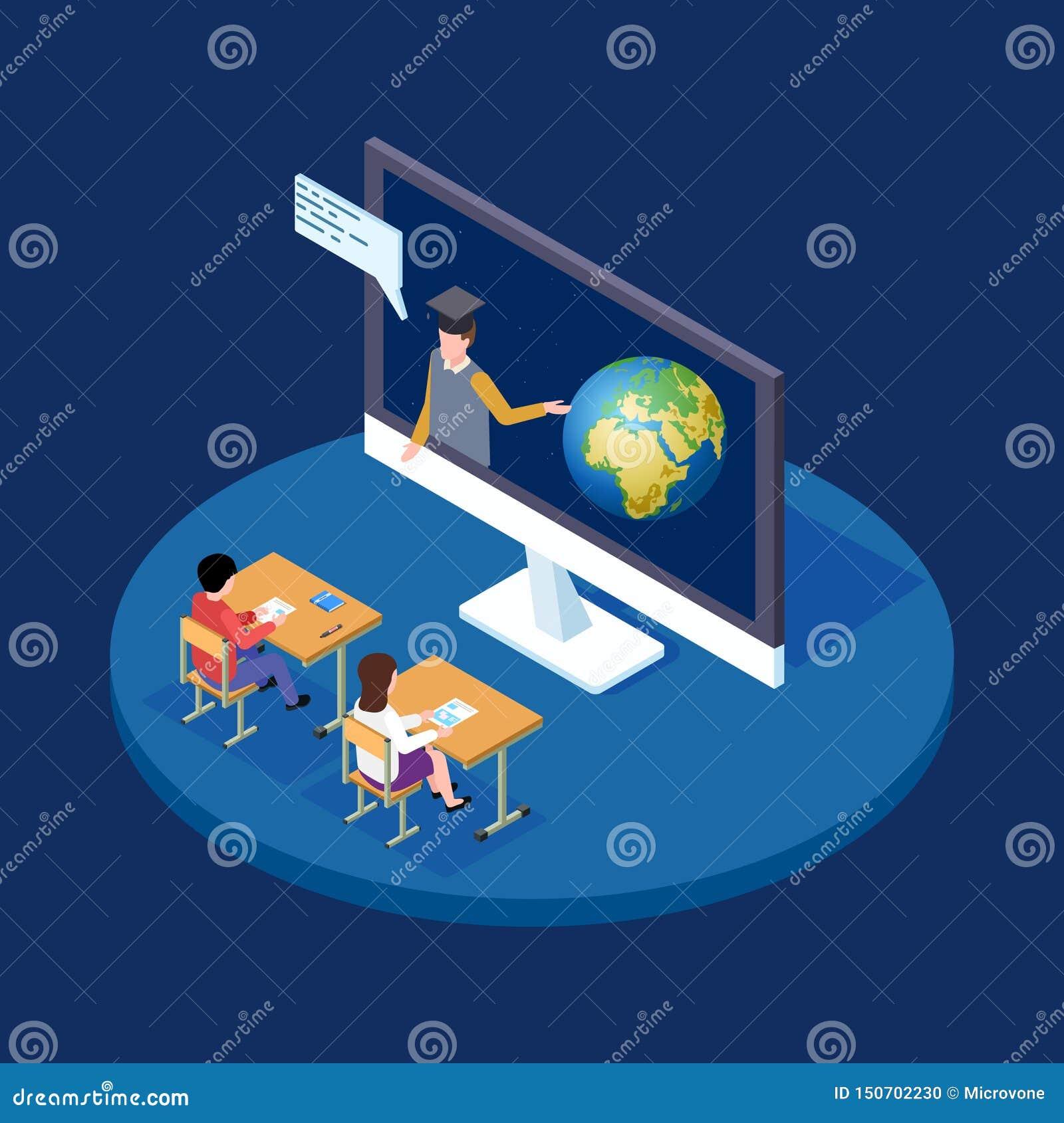 网上天文教训等量传染媒介概念 遥远的老师告诉关于地球和空间例证的孩子