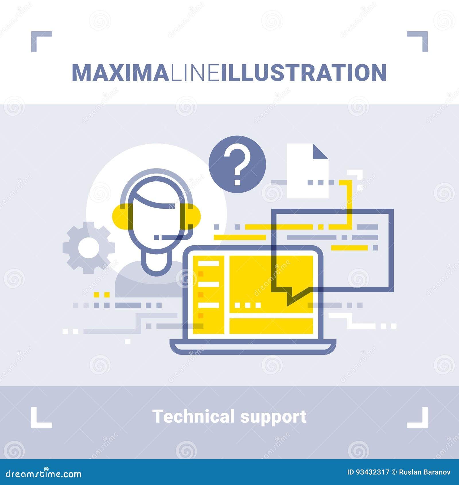 网上技术支持和电话中心的概念 最大值线例证 现代平的设计 向量构成
