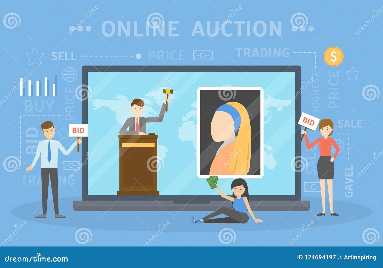 网上拍卖概念 采取在拍卖的行动通过设备