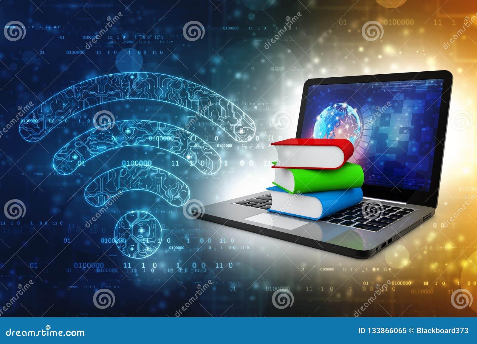 网上教育概念-有五颜六色的书的便携式计算机 3d翻译