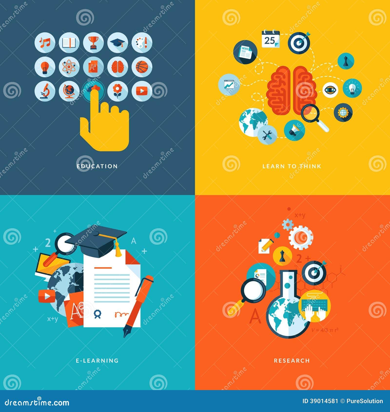 网上教育的平的设计观念象