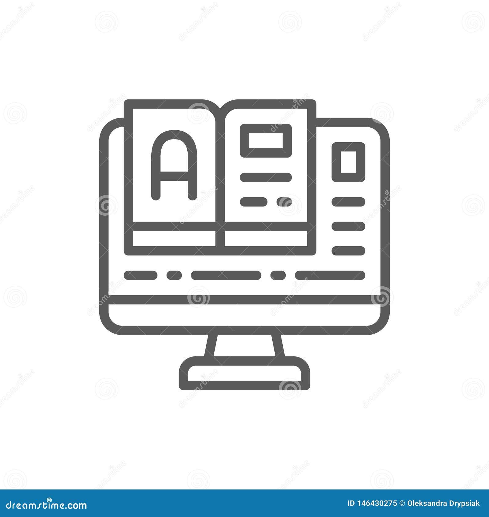 网上教育,与书线象的显示器