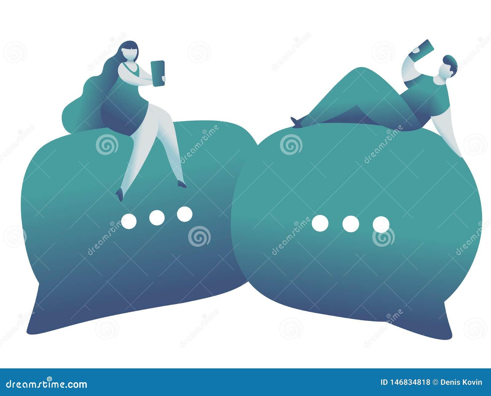 网上约会和社会网络,真正关系 男性和女性聊天在互联网上