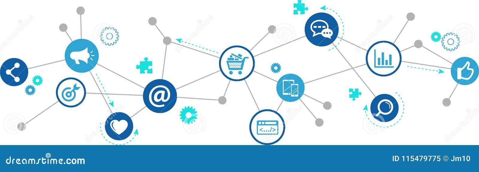 网上营销/社会媒介营销/SEO -例证