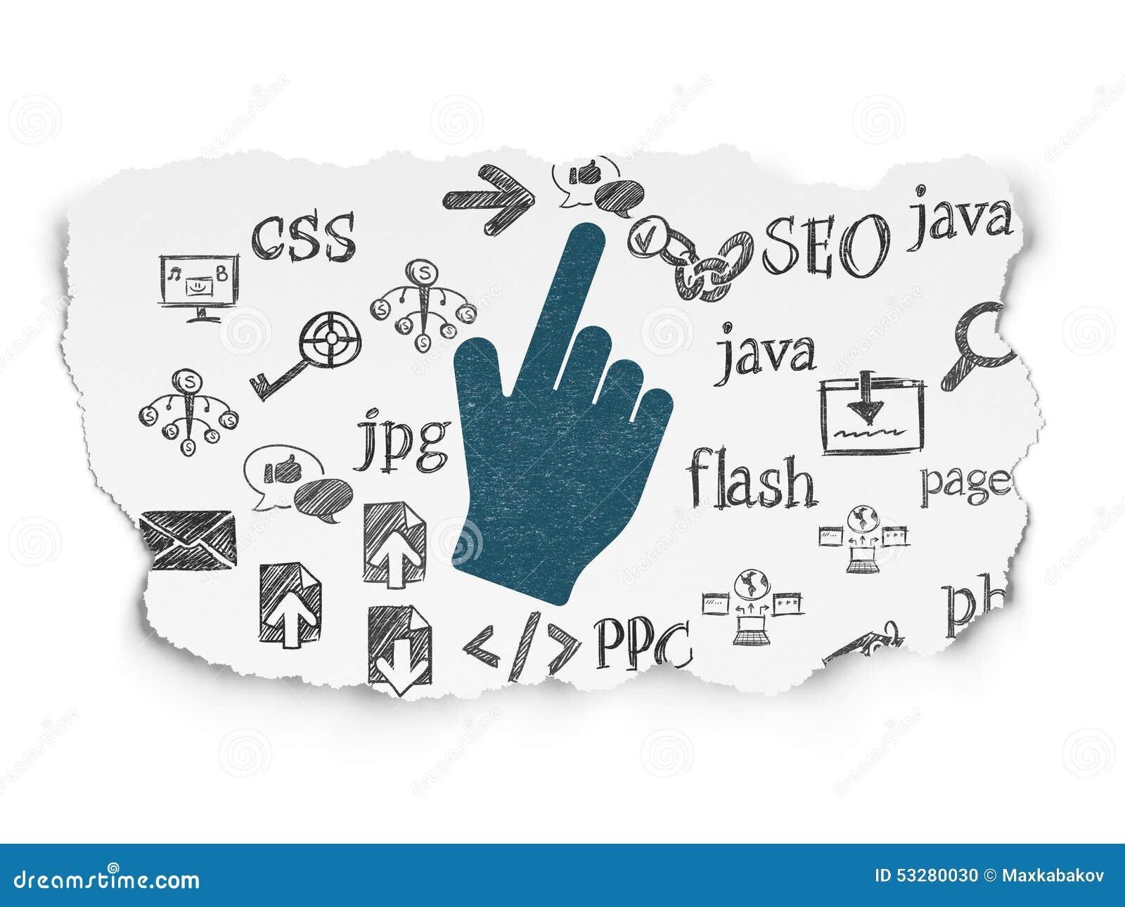 网发展概念:在撕毁的老鼠游标