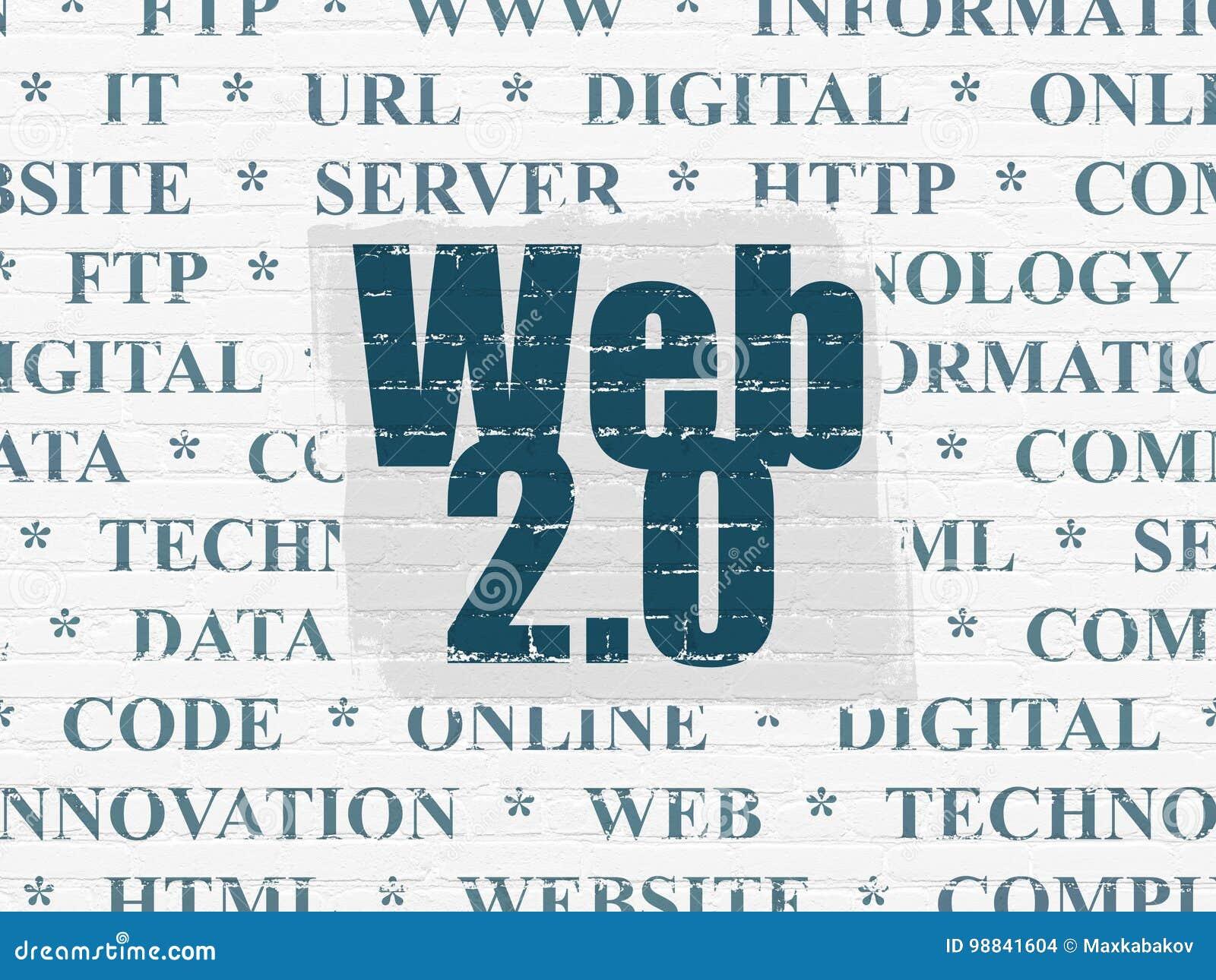 网发展概念:网2 0在墙壁背景