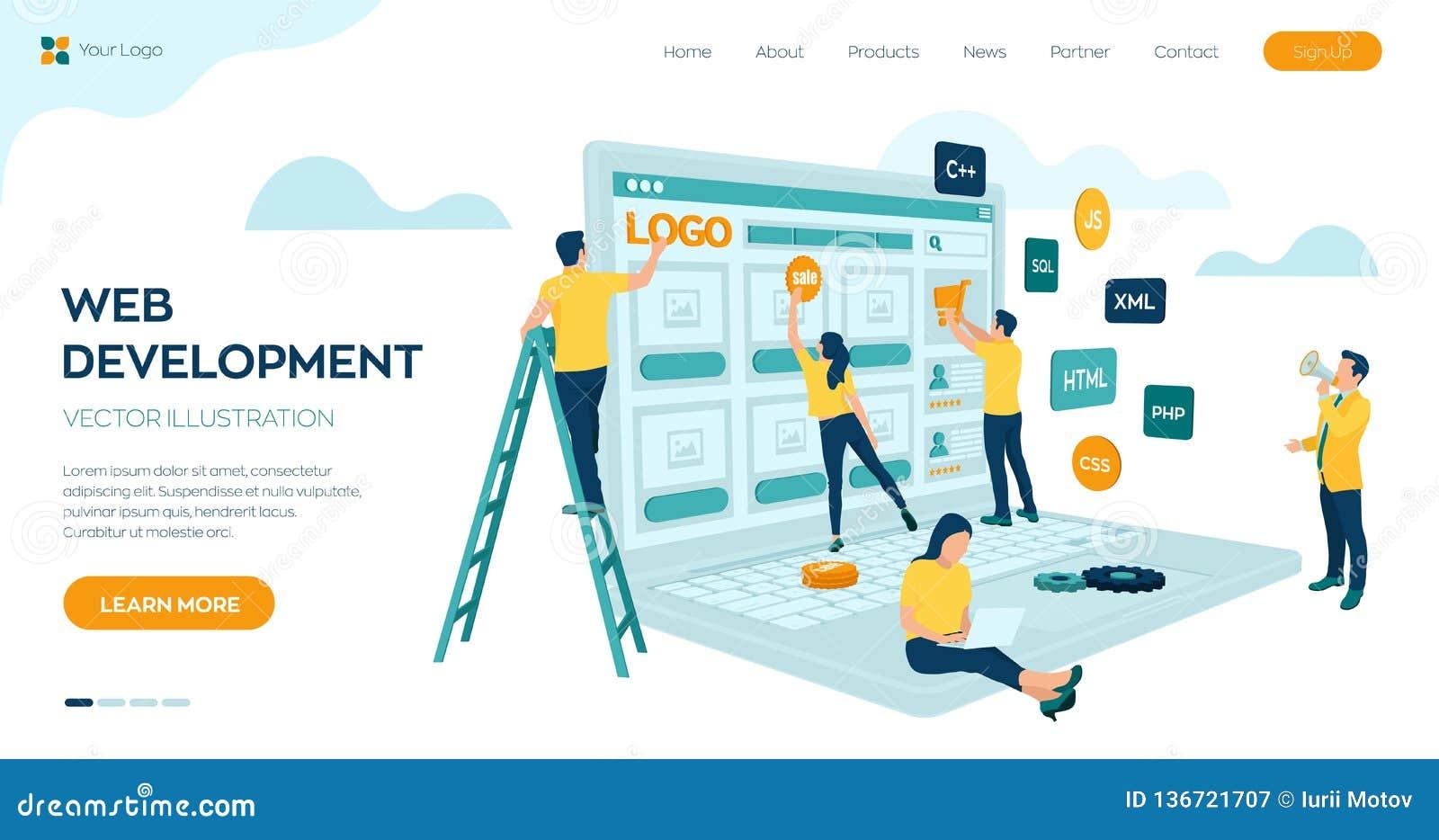 网发展 工程师项目小组网站的创造 网页大厦 UI UX设计 在概念的字符 网机构