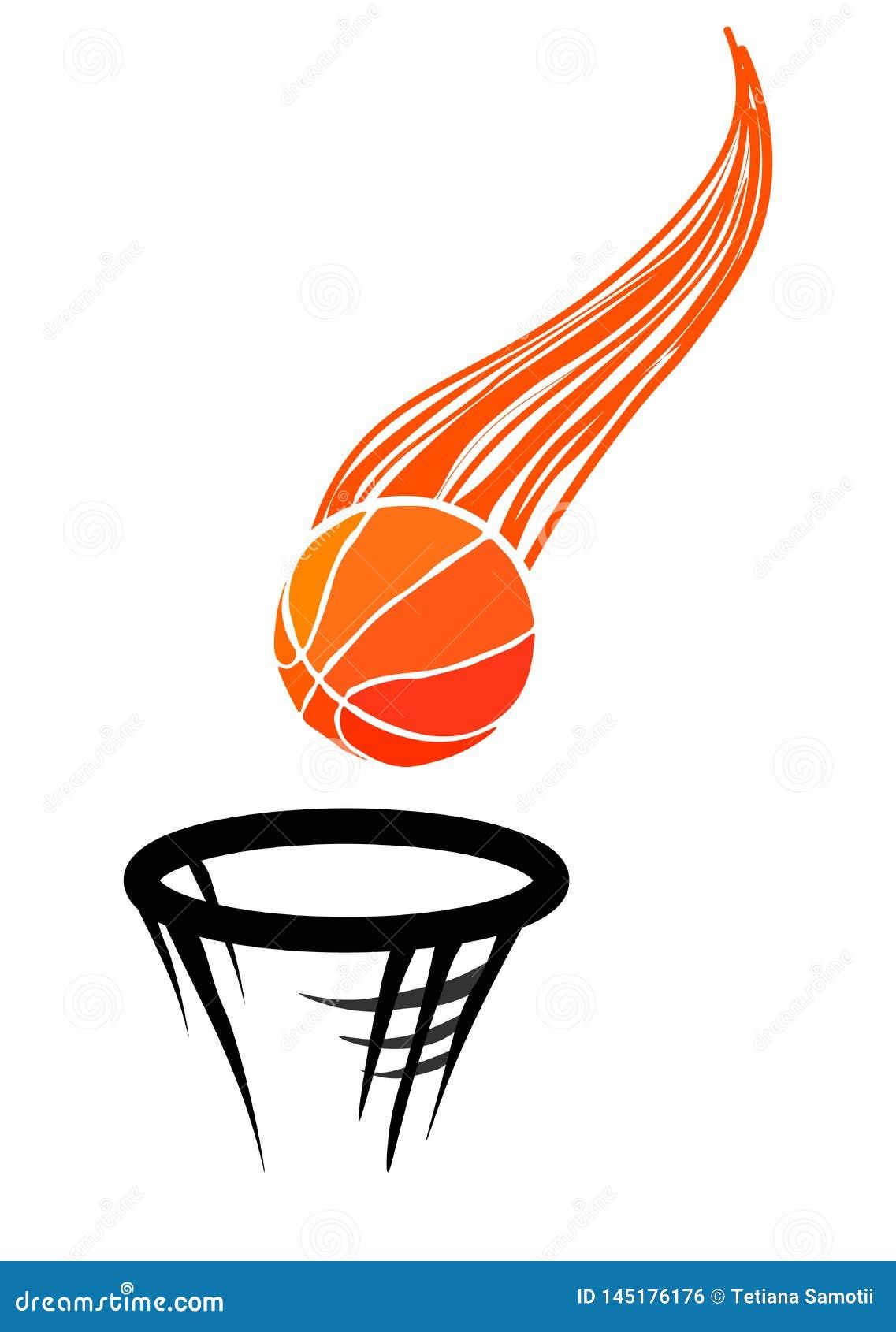 网商标的传染媒介例证篮球的,包括飞行在弹道篮球球,正确地投掷在ri
