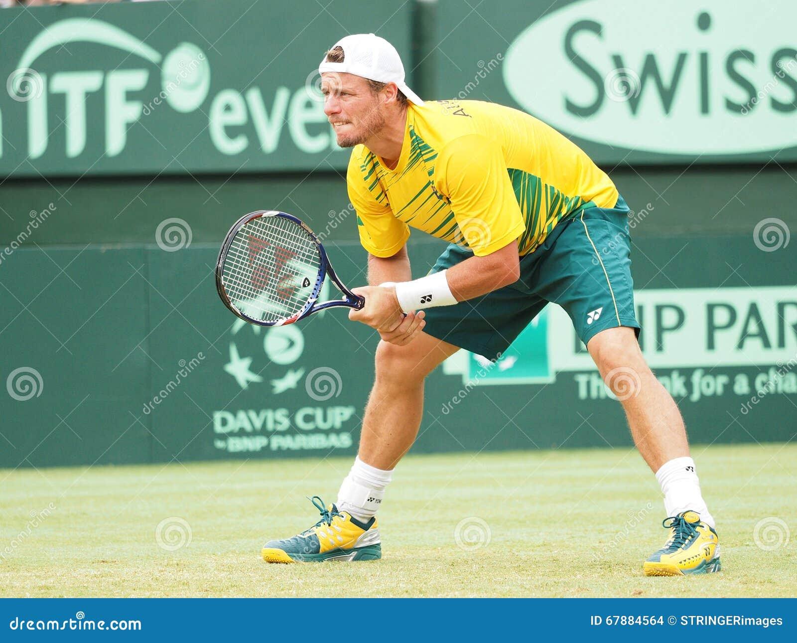 网球员在戴维斯杯期间的Llayton休伊特加倍对美国