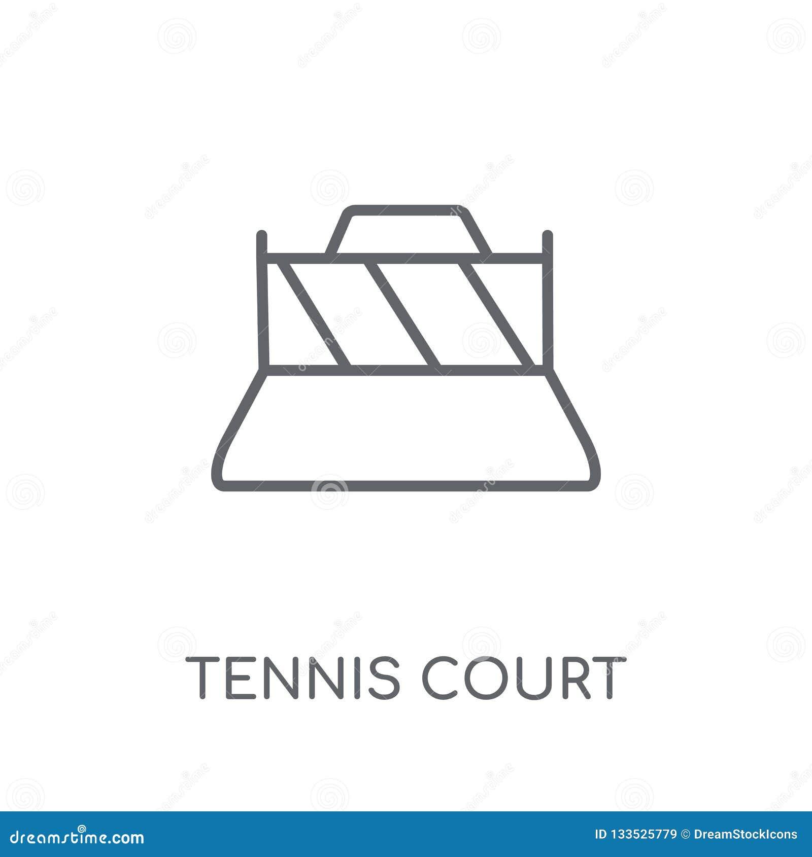 网球场线性象 现代概述网球场商标conce