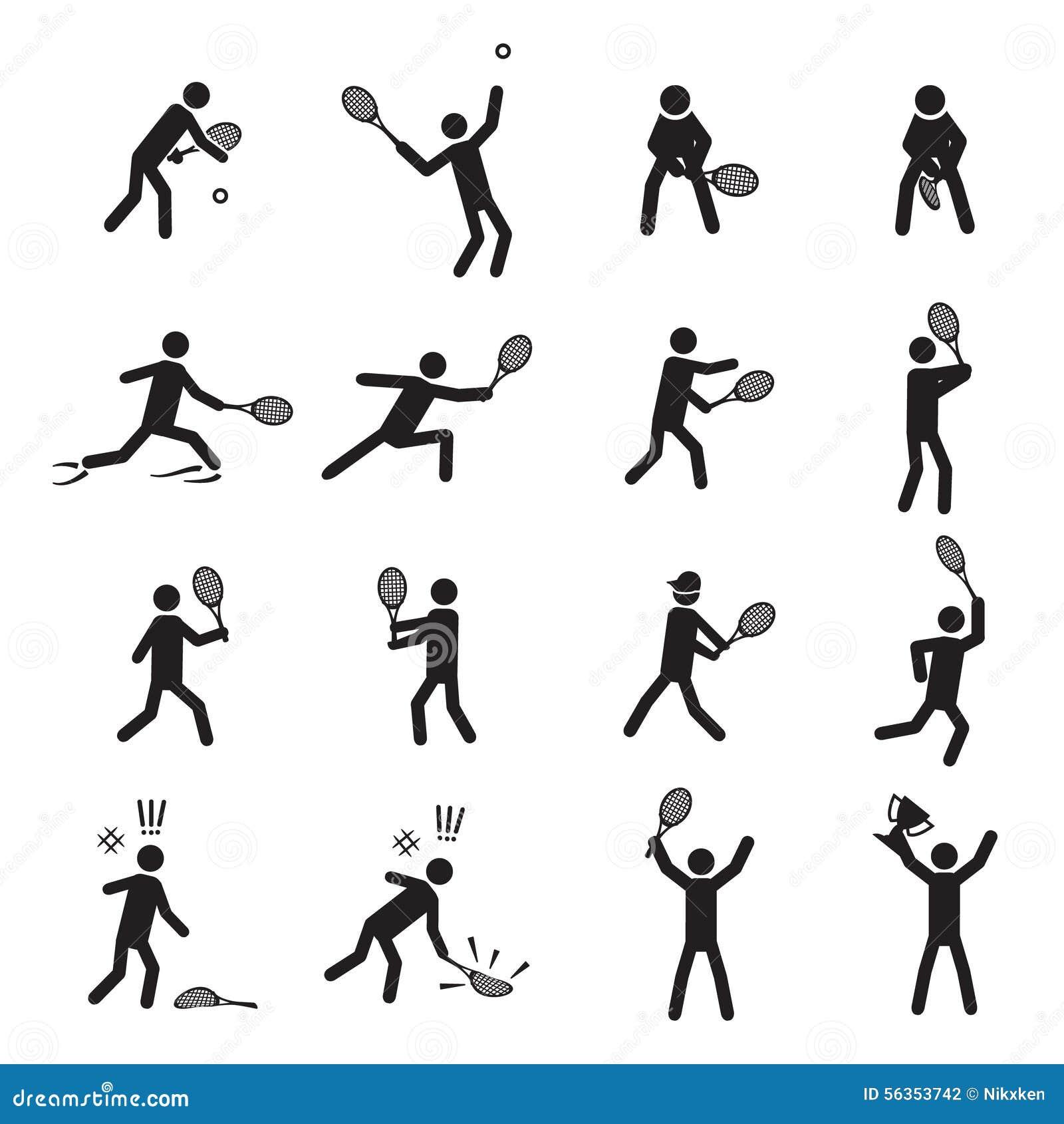 网球姿势男性象集合eps10.图片