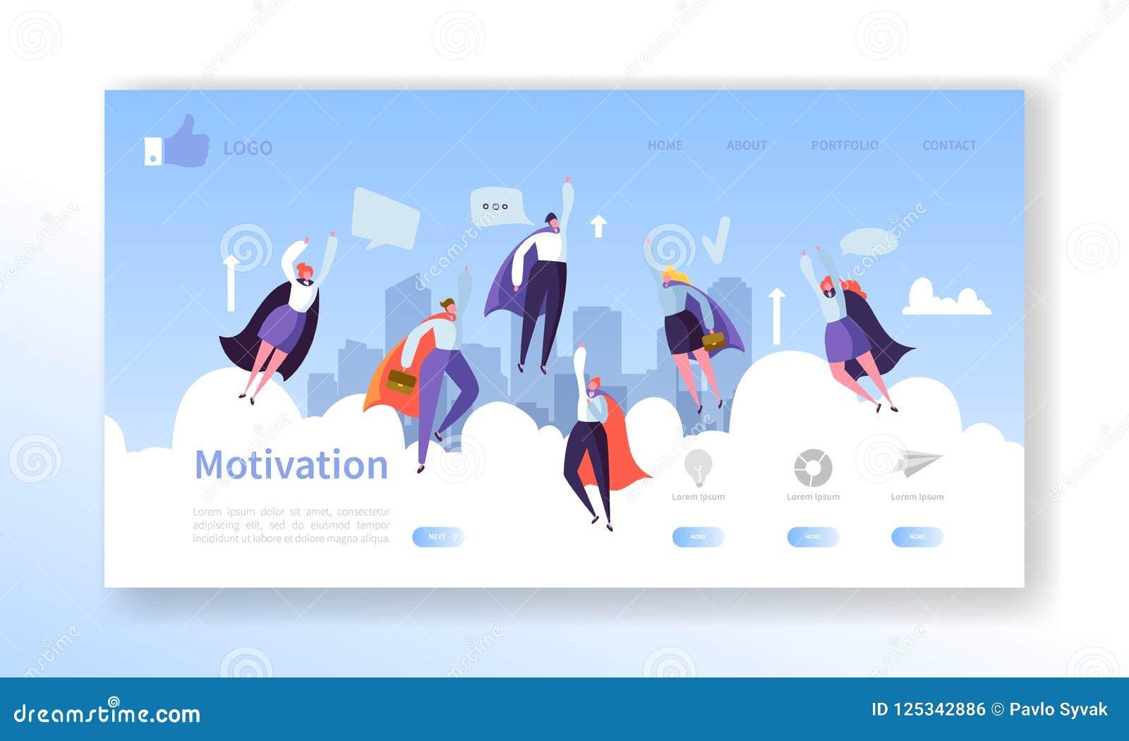 网站发展着陆页模板 与平的飞行企业英雄男人和妇女的流动应用布局