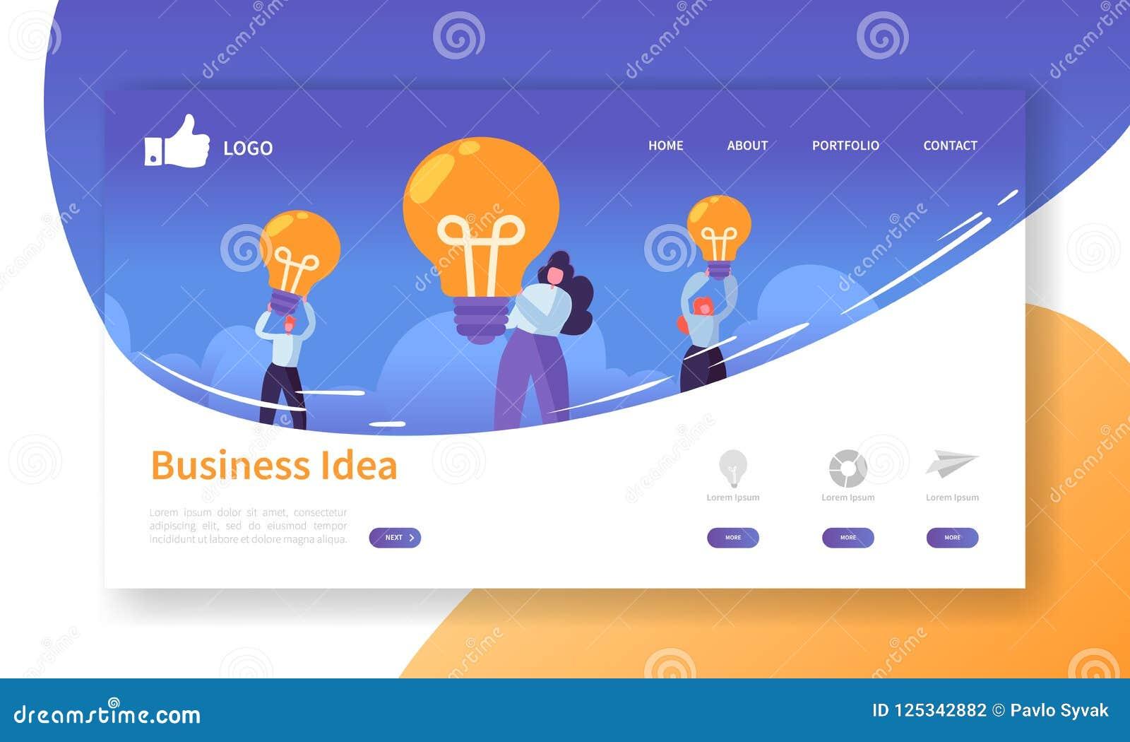 网站发展着陆页模板 与拿着电灯泡的平的商人的流动应用布局