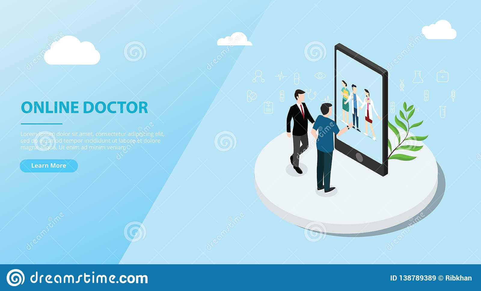网站模板横幅的网上医生应用程序服务-传染媒介
