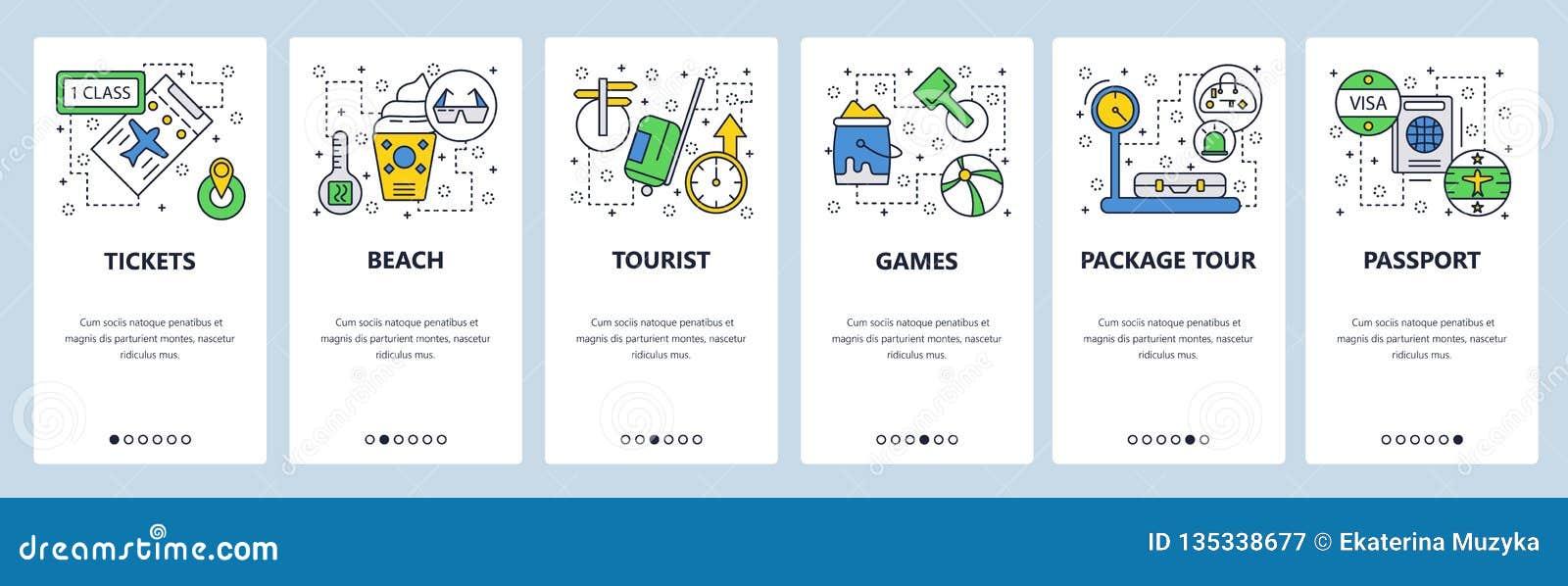 网站onboarding的屏幕 旅行和海滩假期,护照,签证,票 菜单传染媒介网站的横幅模板