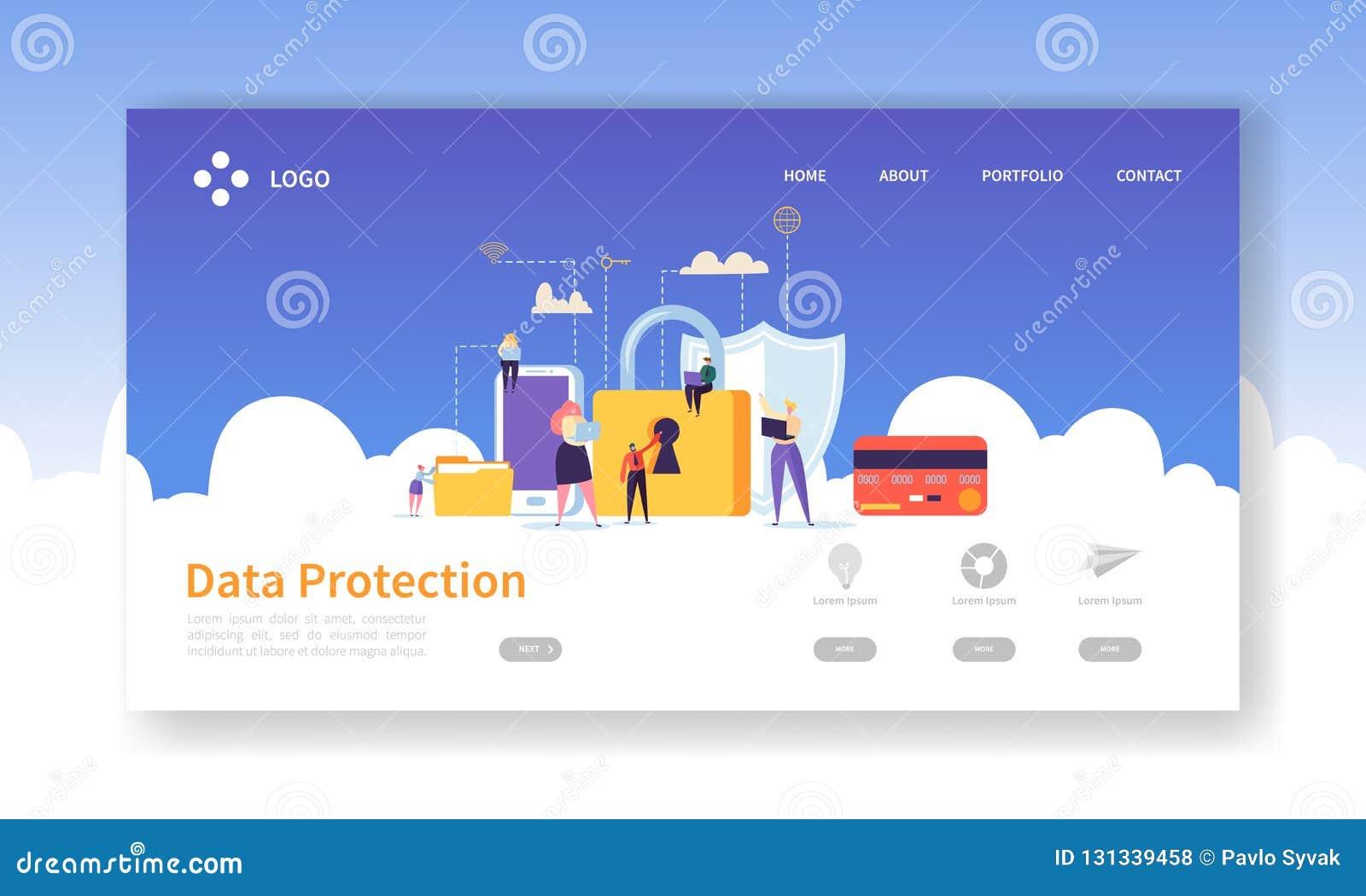 网络安全着陆页 与平的人字符和数字资料安全网站的数据保护横幅