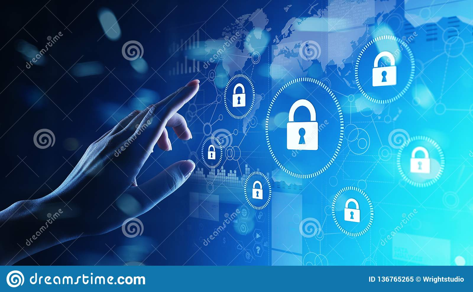 网络安全,信息保密性,数据保护 互联网和技术概念在虚屏上