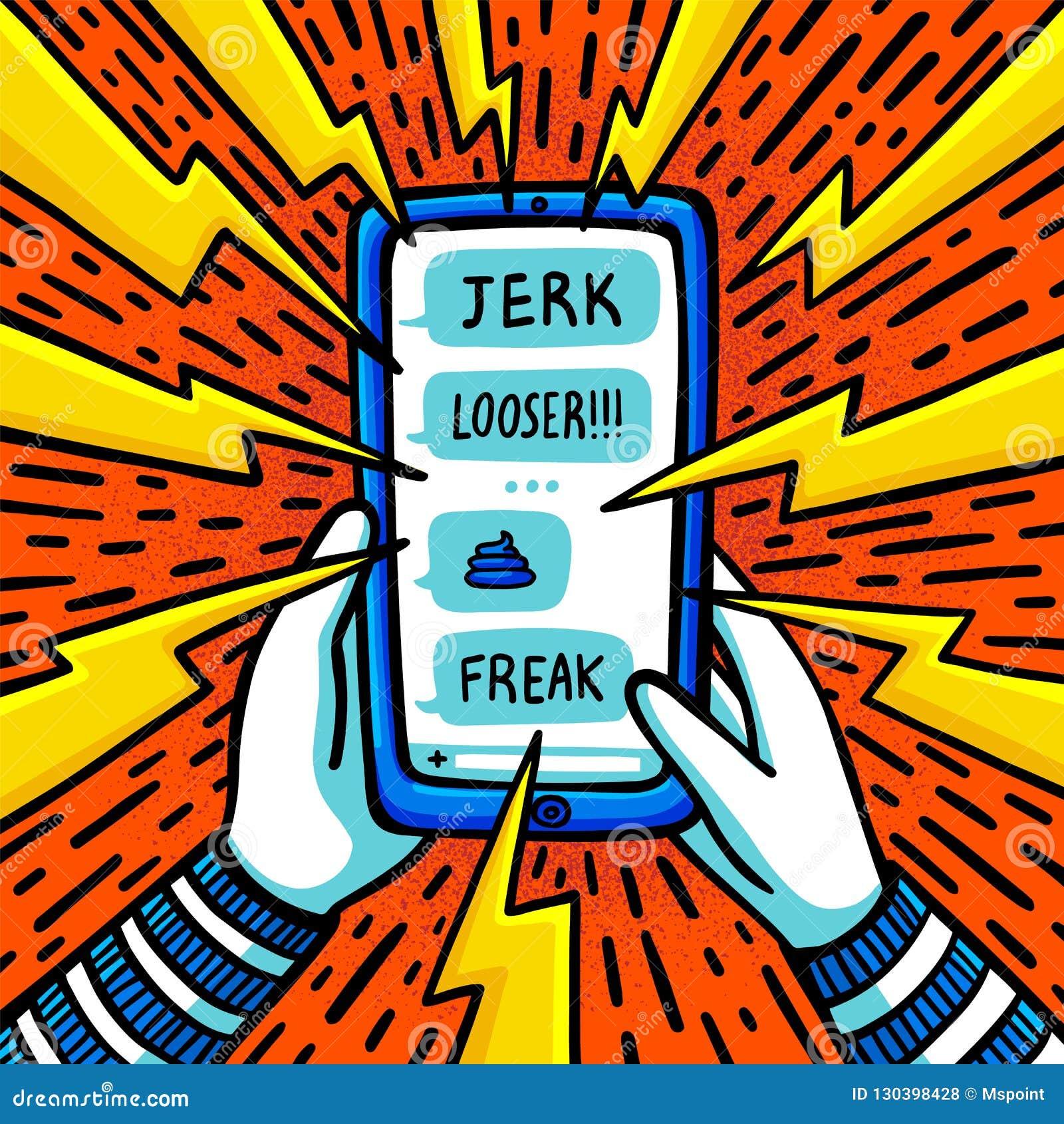网络胁迫的概念 虐待短信被胁迫的十几岁的女孩 平的样式传染媒介例证