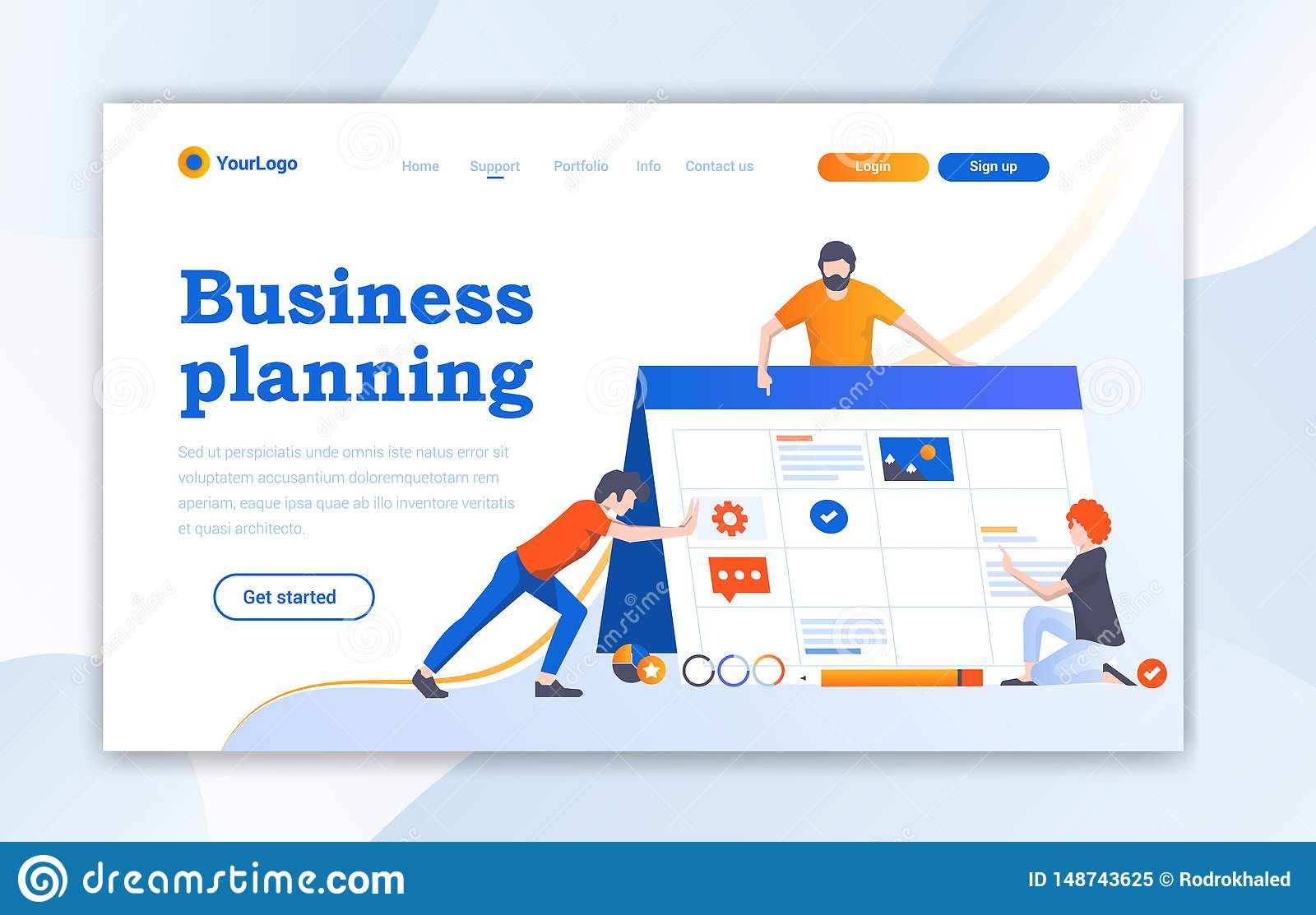 网络设计着陆页网站模板设计 网页设计的现代平的设计传染媒介例证概念网站的