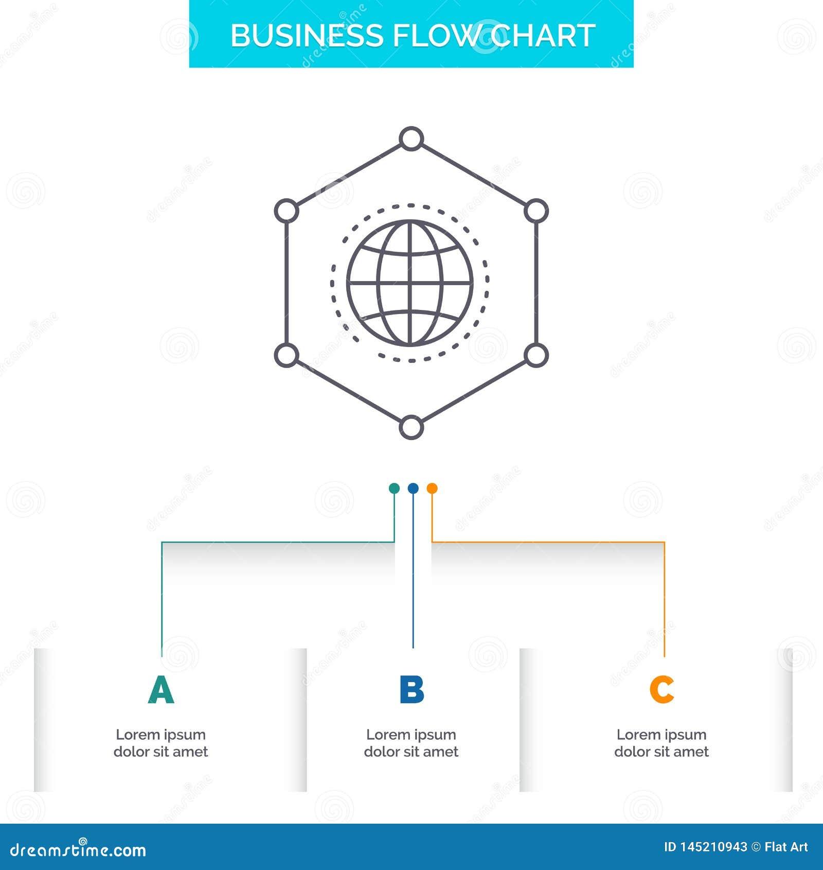 网络,全球性,数据,连接,企业企业与3步的流程图设计 r