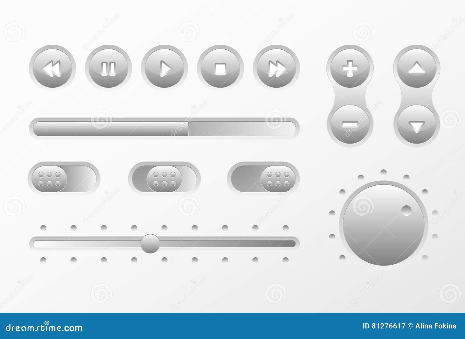 网UI UX音乐被设置的元素设计:按钮,调转工,滑子,装载者