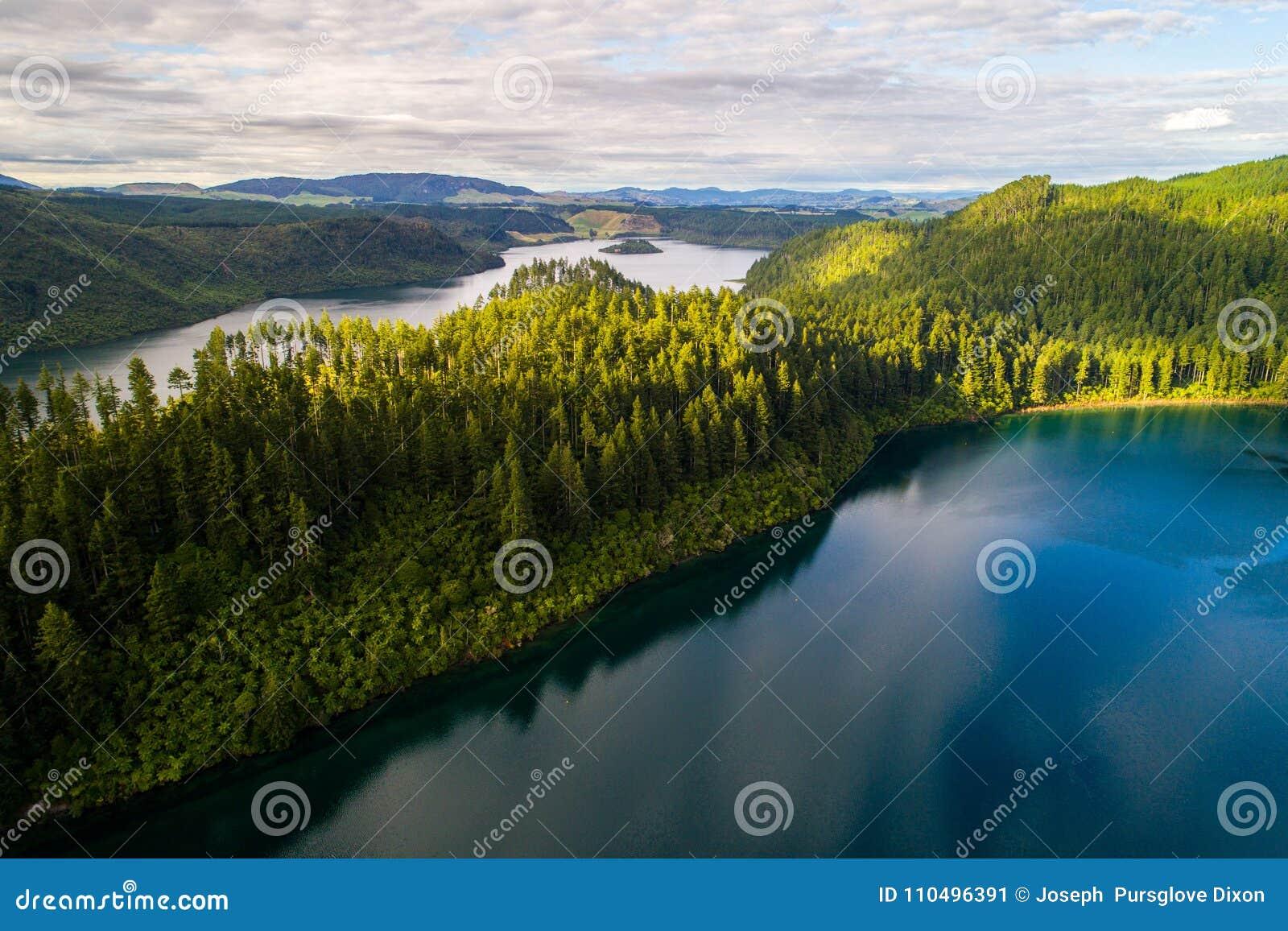 罗托路亚新西兰美丽的绿色和蓝色湖从寄生虫空中风景射击的