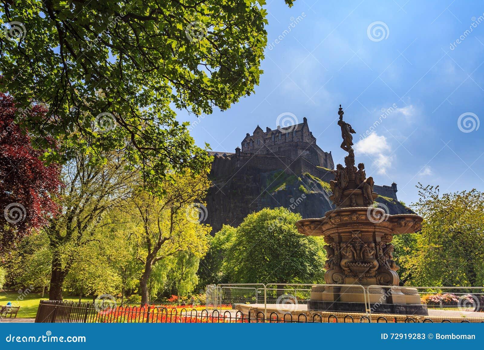 罗斯喷泉地标在Pincess街庭院和爱丁堡防御