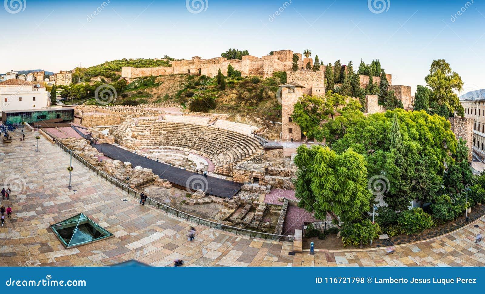 罗马剧院和Alcazaba城堡在马拉加西班牙