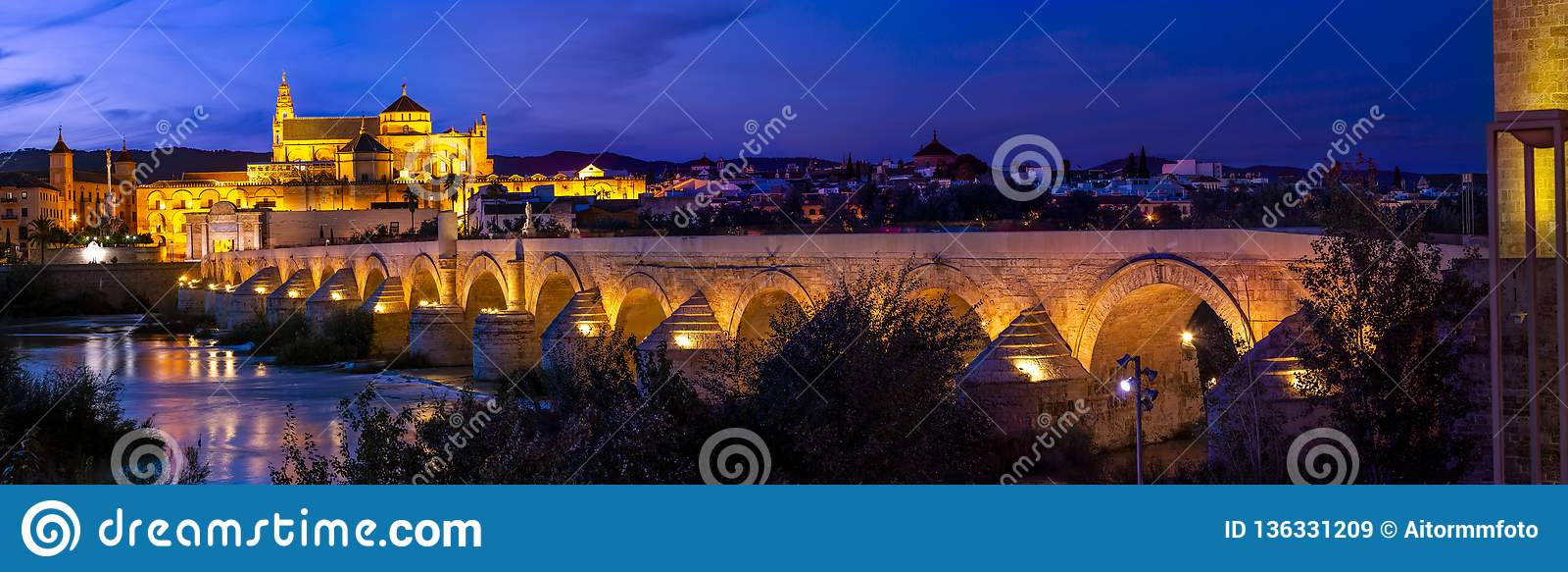 罗马桥梁令人惊讶的发光在夜的科多巴全景和梅斯基塔