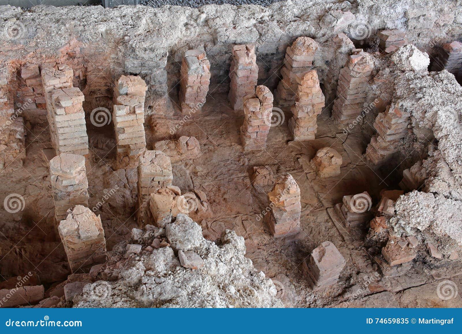 罗马考古学挖掘站点别墅Rustica