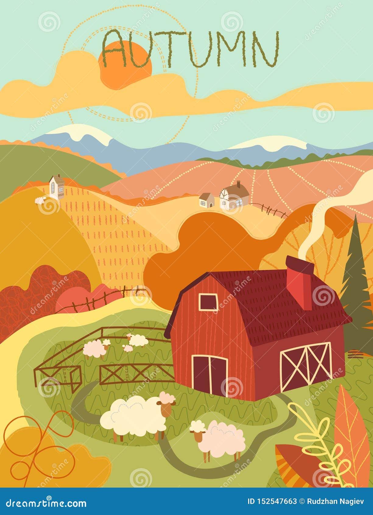 羊毛制绵羊群在一个红色木谷仓附近的一个牧场地在绵延山