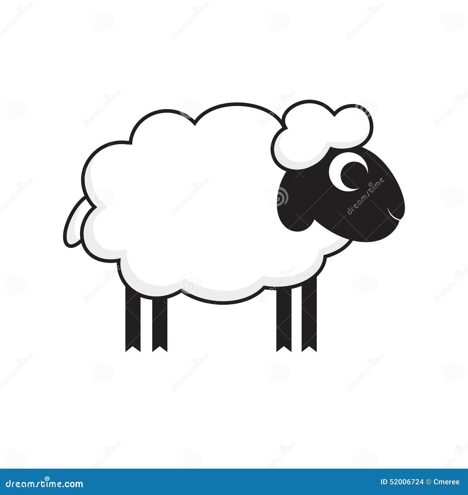 一只动画片式绵羊的传染媒介例证.图片